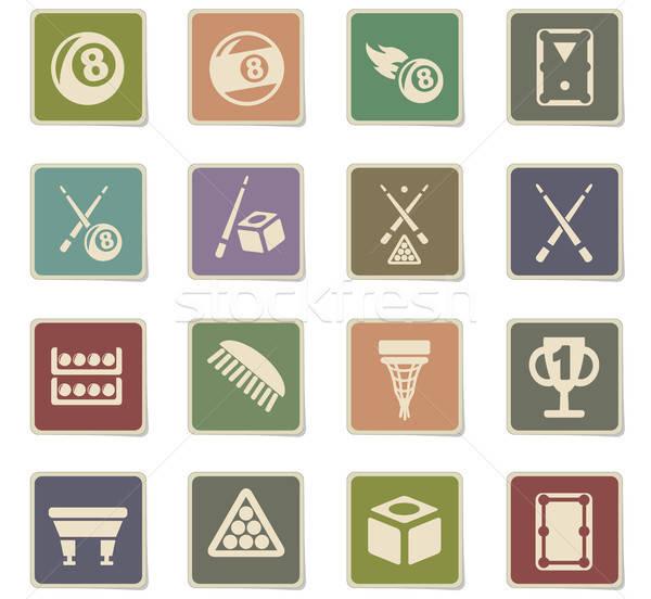 Bilardo web simgeleri kullanıcı arayüz dizayn Stok fotoğraf © ayaxmr