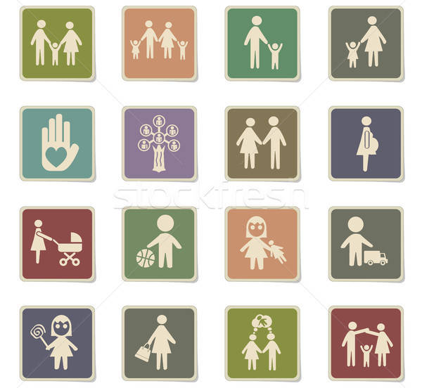 Család ikon gyűjtemény webes ikonok felhasználó interfész terv Stock fotó © ayaxmr