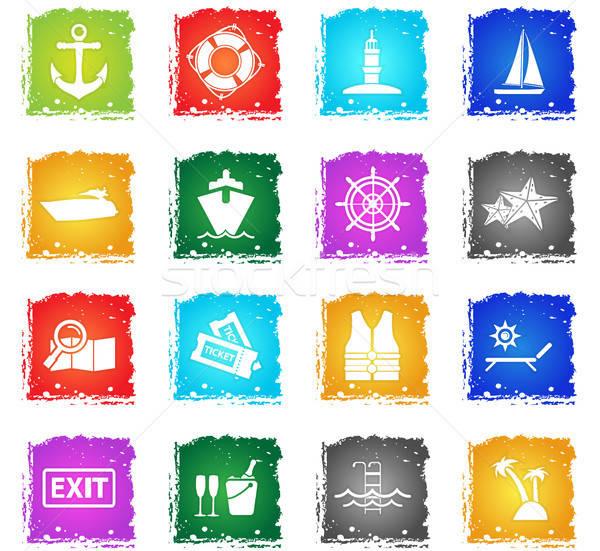 Cruzeiro vetor os ícones do web grunge estilo Foto stock © ayaxmr