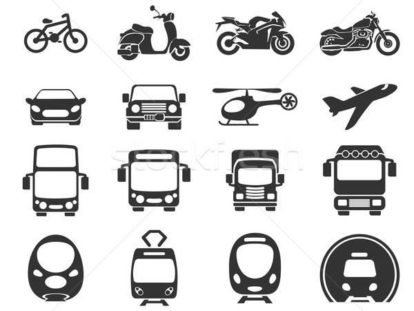 Vervoer iconen eenvoudige monochromatisch voertuig ontwerp Stockfoto © ayaxmr