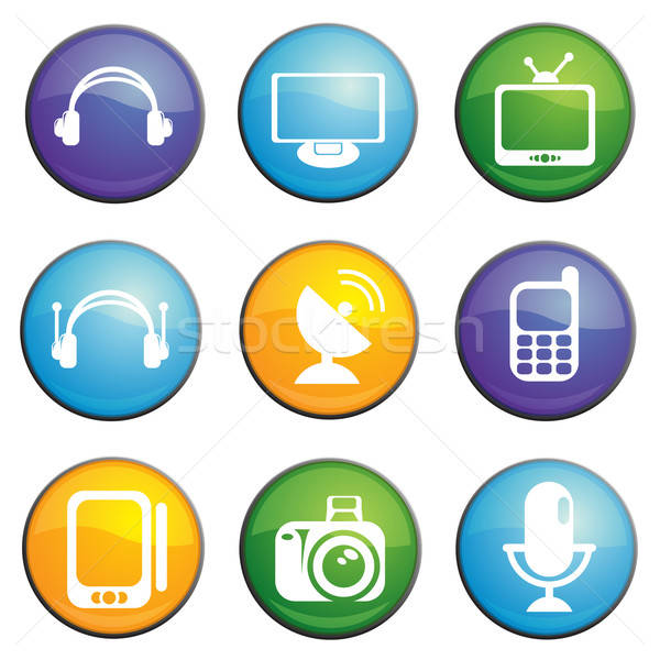 Communication icons set Stock photo © ayaxmr