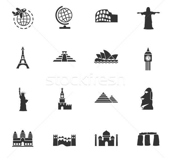 Podróży web ikony użytkownik interfejs projektu Zdjęcia stock © ayaxmr