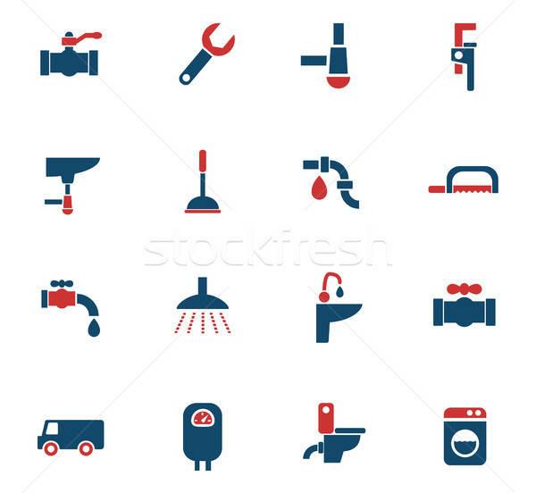 Fontanería servicio iconos de la web usuario interfaz Foto stock © ayaxmr