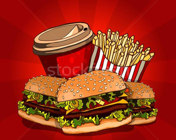 Gyorsételek hamburger sült krumpli kóla étel Stock fotó © ayaxmr
