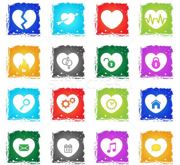 сердце просто иконки Гранж стиль Сток-фото © ayaxmr