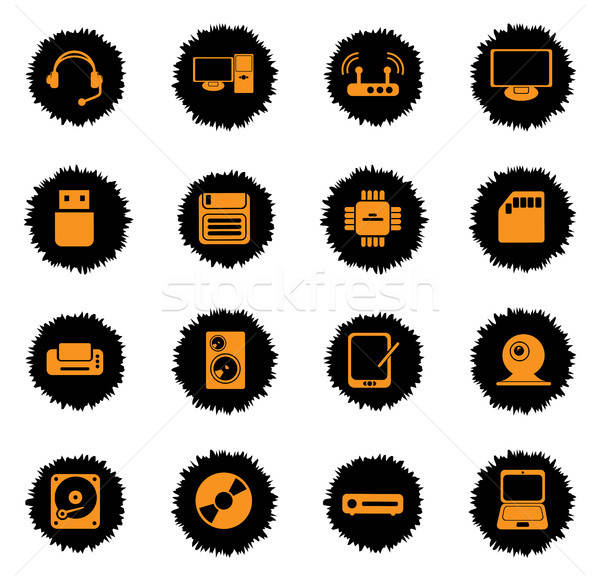 Computer equipment simple vector icons Stock photo © ayaxmr