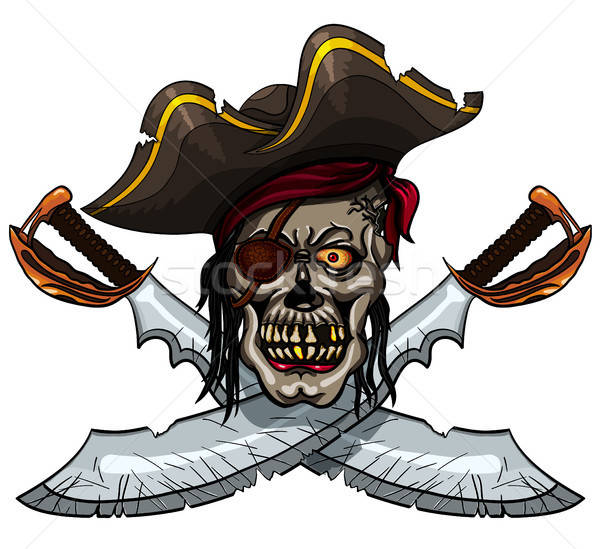 Pirata cráneo peligro tatuaje camiseta Foto stock © ayaxmr