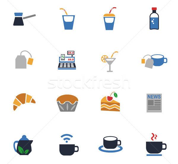 Cafe web icons gebruiker interface ontwerp Stockfoto © ayaxmr