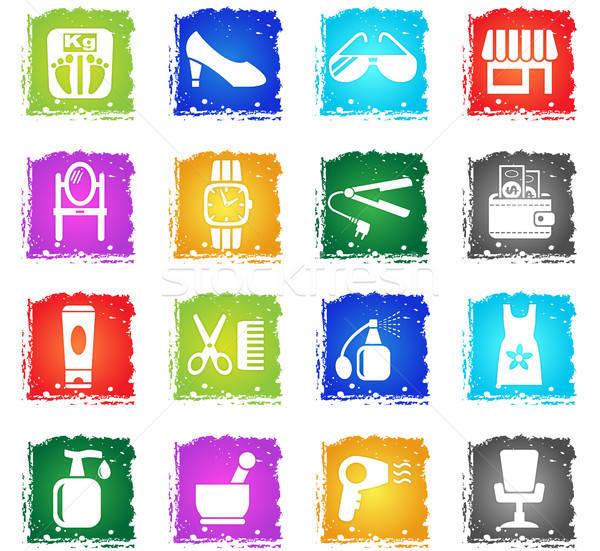 Szépségszalon ikon gyűjtemény webes ikonok grunge stílus felhasználó Stock fotó © ayaxmr