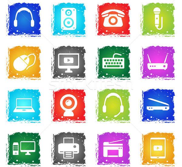 Dispositivos simplesmente ícones símbolos grunge estilo Foto stock © ayaxmr
