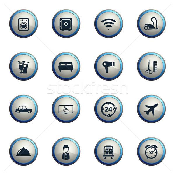 Hotel egyszerűen ikonok ikon szett háló felhasználó Stock fotó © ayaxmr