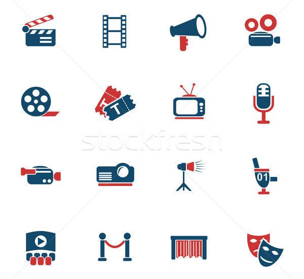 cinema icon set Stock photo © ayaxmr