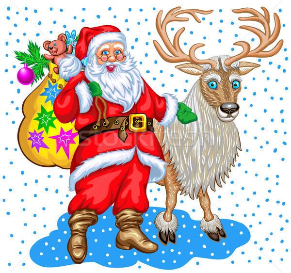 Babbo natale bag regali renne Natale illustrazione Foto d'archivio © ayaxmr