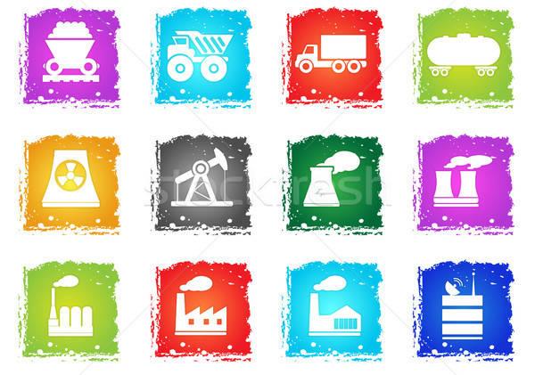 Industriële eenvoudig iconen symbool grunge stijl Stockfoto © ayaxmr