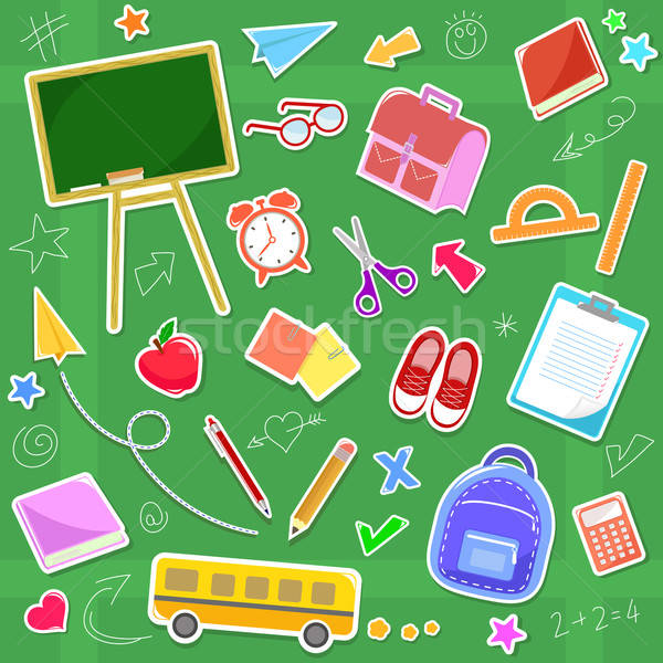 学校 アイコン コレクション 図書 子供 中心 ストックフォト © ayelet_keshet