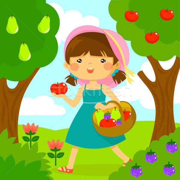 少女 ピッキング フルーツ かわいい 女の子 幸せ ストックフォト © ayelet_keshet