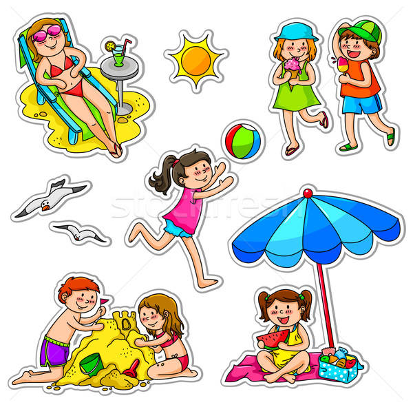 Kinderen zomer ingesteld genieten voedsel zon Stockfoto © ayelet_keshet