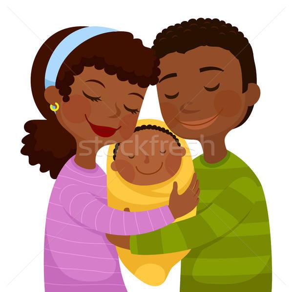 Foto stock: Escuro · pais · bebê · feliz · pequeno
