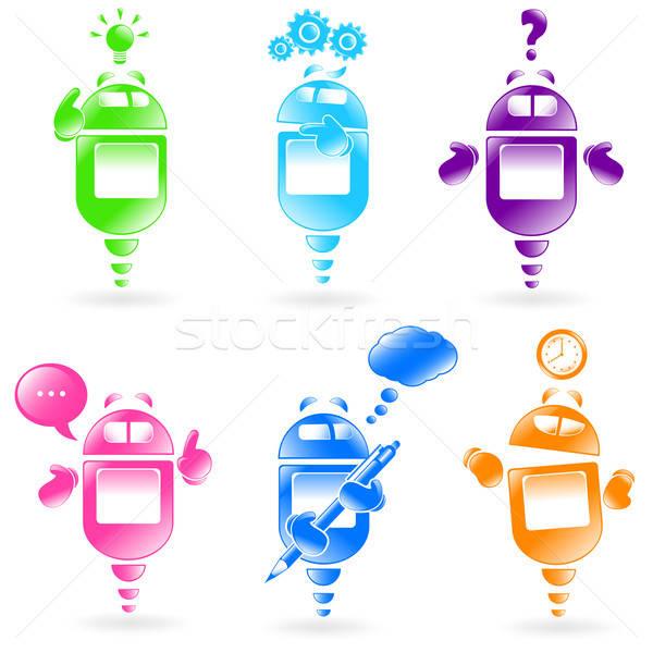 Robots collectie verschillend uitdrukkingen ontwerp contact Stockfoto © ayelet_keshet