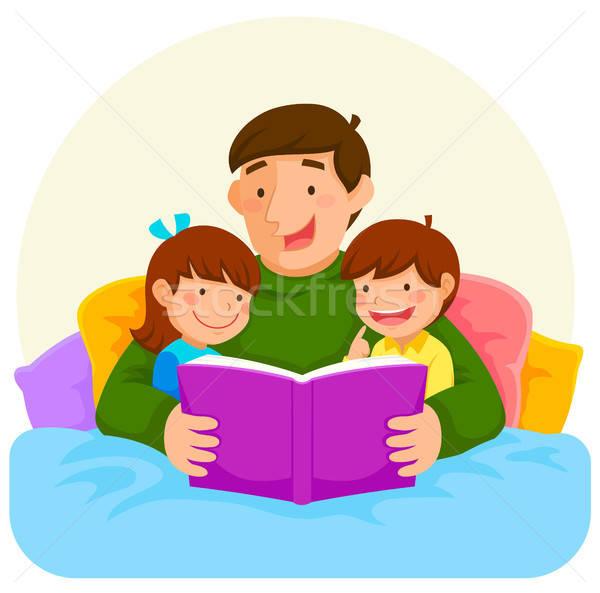 Cuento papá jóvenes padre lectura libro Foto stock © ayelet_keshet