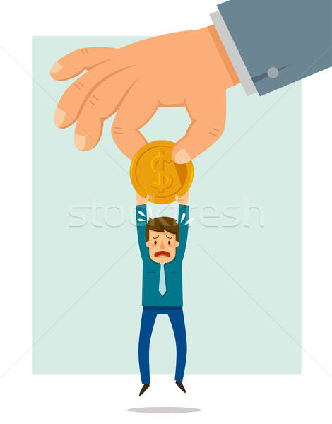 Big hand taking a coin from a small man. Concept of authorities taking money from citizens. Stock photo © ayelet_keshet