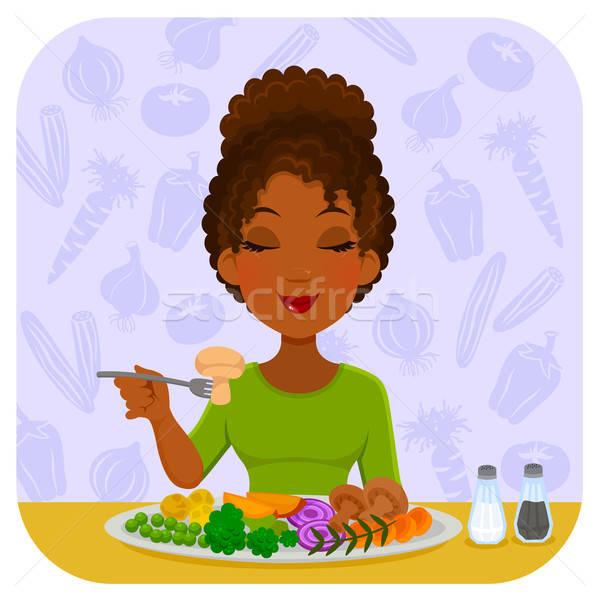 食べ 野菜 若い女性 健康 プレート ストックフォト © ayelet_keshet