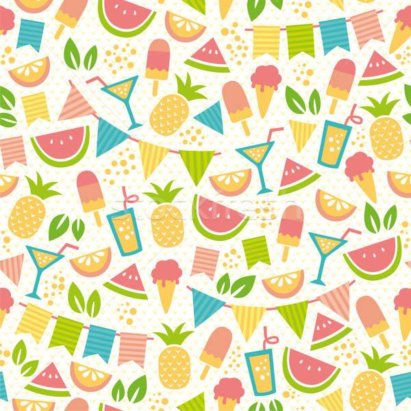 Zomer partij patroon ijs vruchten Stockfoto © ayelet_keshet