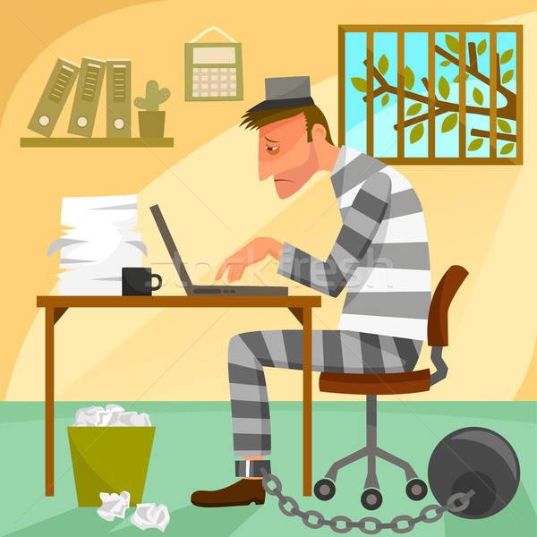 Gevangene werk depressief werknemer kantoor computer Stockfoto © ayelet_keshet
