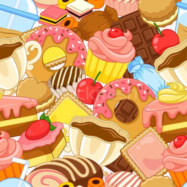 édesség minta végtelen minta sütemények textúra háttér Stock fotó © ayelet_keshet