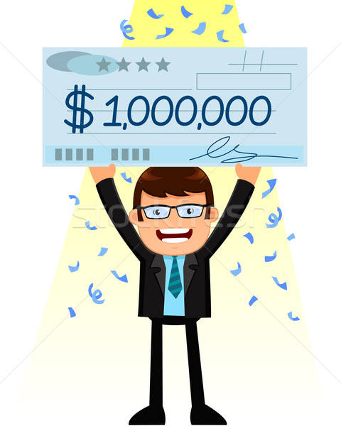 Stock photo: man with a big check