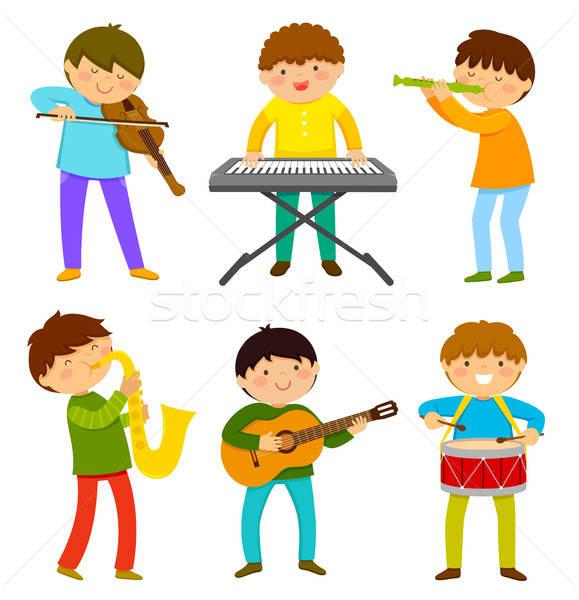 Foto stock: Crianças · brincando · música · conjunto · instrumento · musical · crianças · feliz