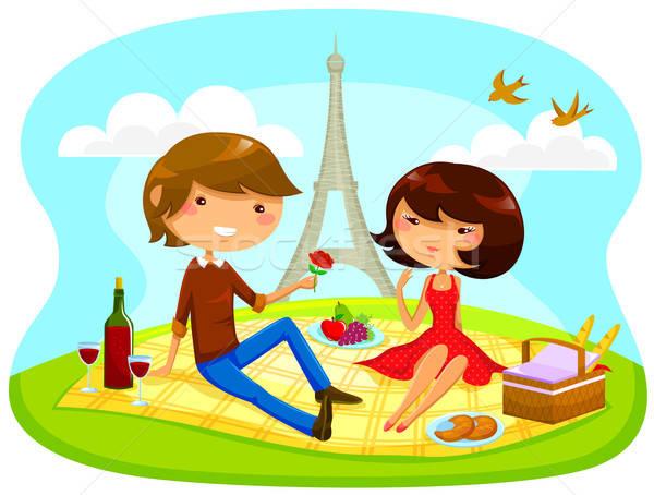 ストックフォト: ロマンチックな · ピクニック · 少年 · 少女 · エッフェル塔 · 女性