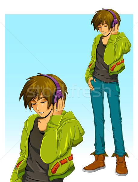 少年 ヘッドホン 音楽を聴く 音楽 幸せ ストックフォト © ayelet_keshet