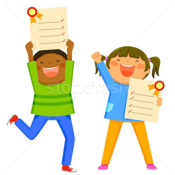 Kinder Bericht Karten glücklich halten ausgezeichnet Stock foto © ayelet_keshet