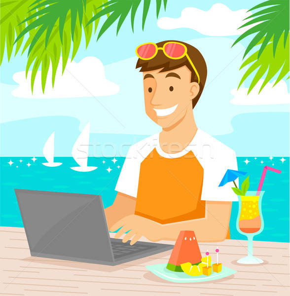Werken strand jonge man laptop genieten tropische vruchten Stockfoto © ayelet_keshet