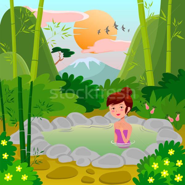 Natuurlijke voorjaar mooie meisje genieten thermisch bad Stockfoto © ayelet_keshet