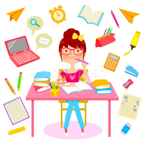 幸せ 勉強 十代の少女 少女 笑顔 図書 ストックフォト © ayelet_keshet