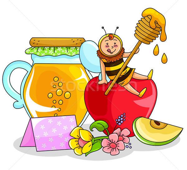 Honing appel bee vergadering jar ontwerp Stockfoto © ayelet_keshet