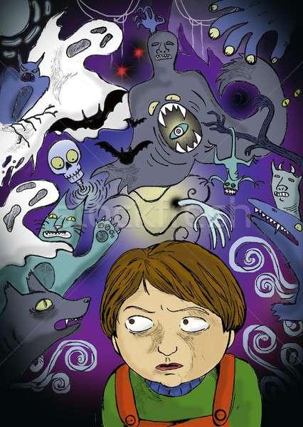 Bang jongen monsters verbeelding wereld hersenen Stockfoto © ayelet_keshet