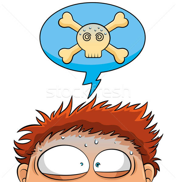 Stockfoto: Uit · nerveus · persoon · schedel · hoofd
