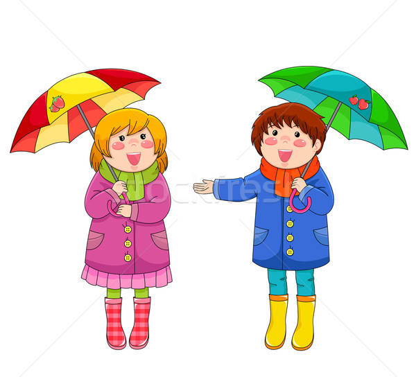 子供 傘 2 幸せ 立って ストックフォト © ayelet_keshet