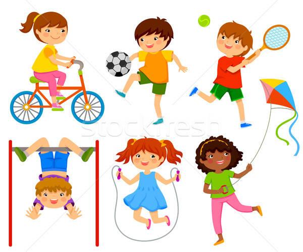 アクティブ 子供 子供演奏 屋外 笑顔 サッカー ストックフォト © ayelet_keshet