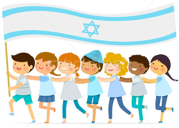 kids with big Israeli flag Stock photo © ayelet_keshet