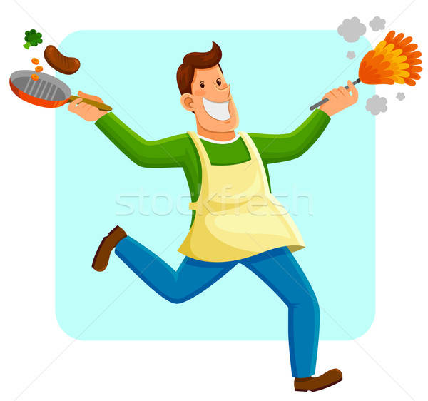 ストックフォト: 男 · 幸せ · 洗浄 · 料理 · ホーム · 作業