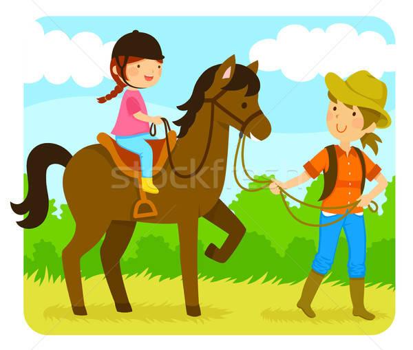 乗馬 レッスン 女の子 ライディング 馬 インストラクター ストックフォト © ayelet_keshet