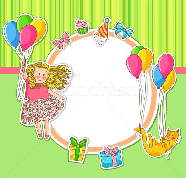 歳の誕生日 フレーム 装飾された 幸せ 子 ストックフォト © ayelet_keshet