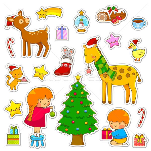Christmas cartoon collectie cute cartoons meisje Stockfoto © ayelet_keshet