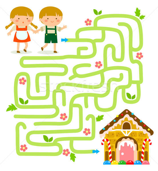Doolhof spel vinden peperkoek huis kinderen Stockfoto © ayelet_keshet