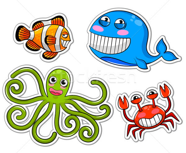 Mar criaturas establecer funny Cartoon sonrisa Foto stock © ayelet_keshet