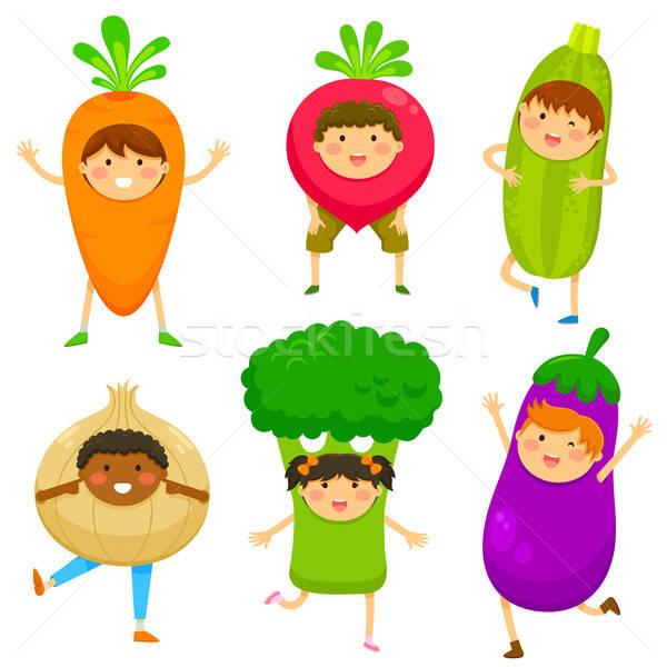 Kinderen zoals groenten gelukkig kinderen vruchten Stockfoto © ayelet_keshet
